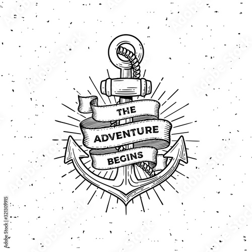 Cuadros en Lienzo Anchor the adventure begins white Vector illustration