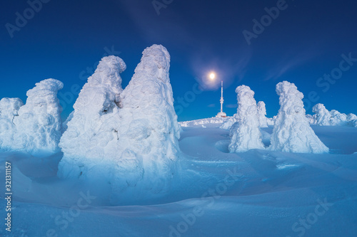 Winter in Jeseniky Mountains in Czech Republic. A huge amounts of snow in photography.