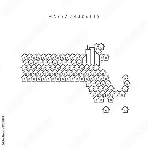 Obraz na plátně Massachusetts real estate property map