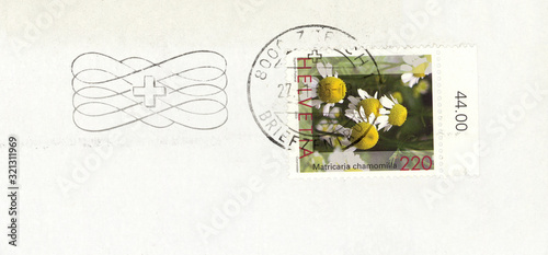 Briefmarke stamp Helvetia Schweiz Blume flower Echte Kamille Matricaria chamomil Canvas-taulu