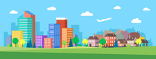Flat Vector Cartoon Style Illustration Of Urban Landscape Skyline City Office Buildings And Family Houses In Small Town Village In Backround. Blue Sky With Clouds And Plane. Green Field