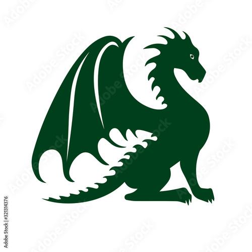 Foto Illustration of a dragon. dragon outline, vector illustration