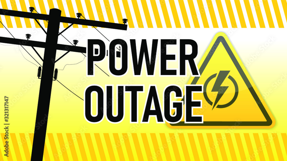 Fototapeta Power outage warning. Yellow and black with electric pillar silhouette . Electricity triangle sign.