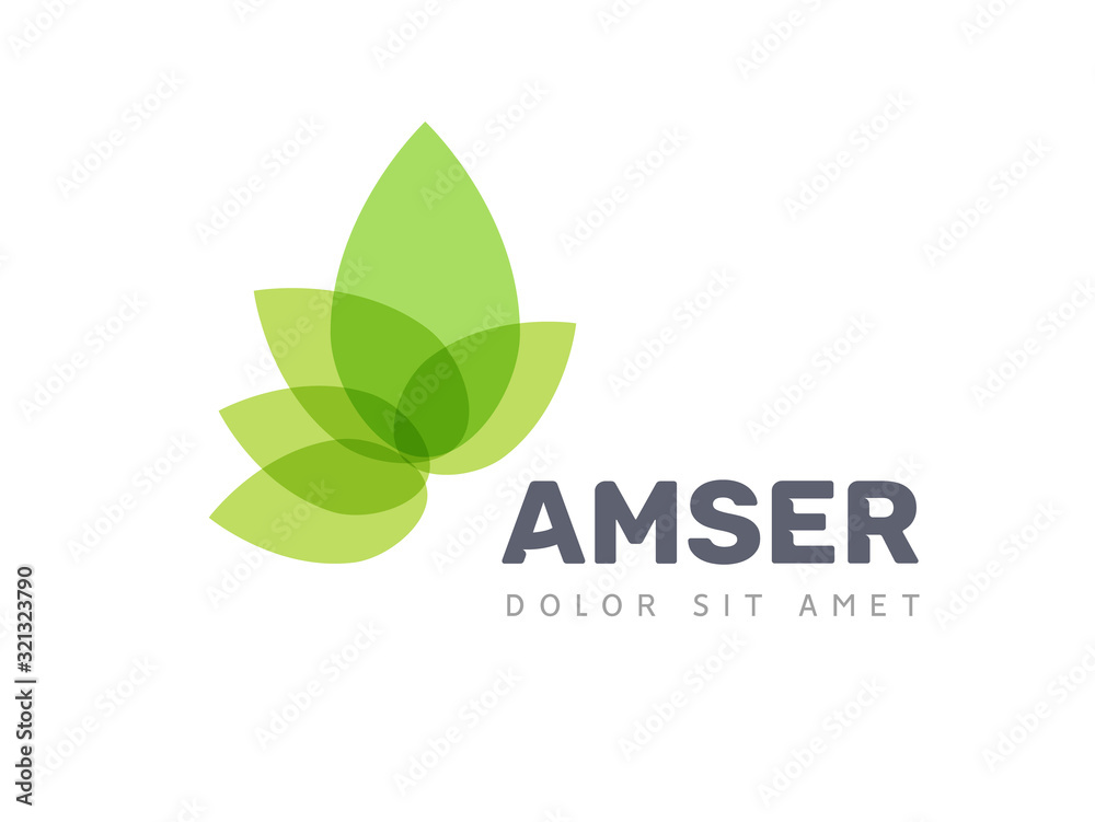 Fototapeta Vector leaf logo, green clean eco icon tree growth. Abstract leaf symbol logo