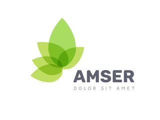 Vector leaf logo, green clean eco icon tree growth. Abstract leaf symbol logo