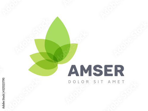 Vector leaf logo, green clean eco icon tree growth. Abstract leaf symbol logo
