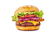 canvas print picture - Juicy hamburger on white background