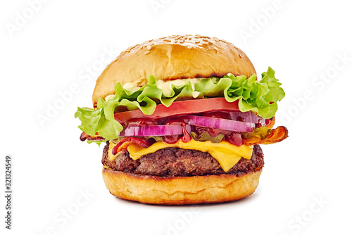 Tablou Canvas Juicy hamburger on white background