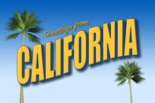 Greetings From California Postcard In Blue And Gold