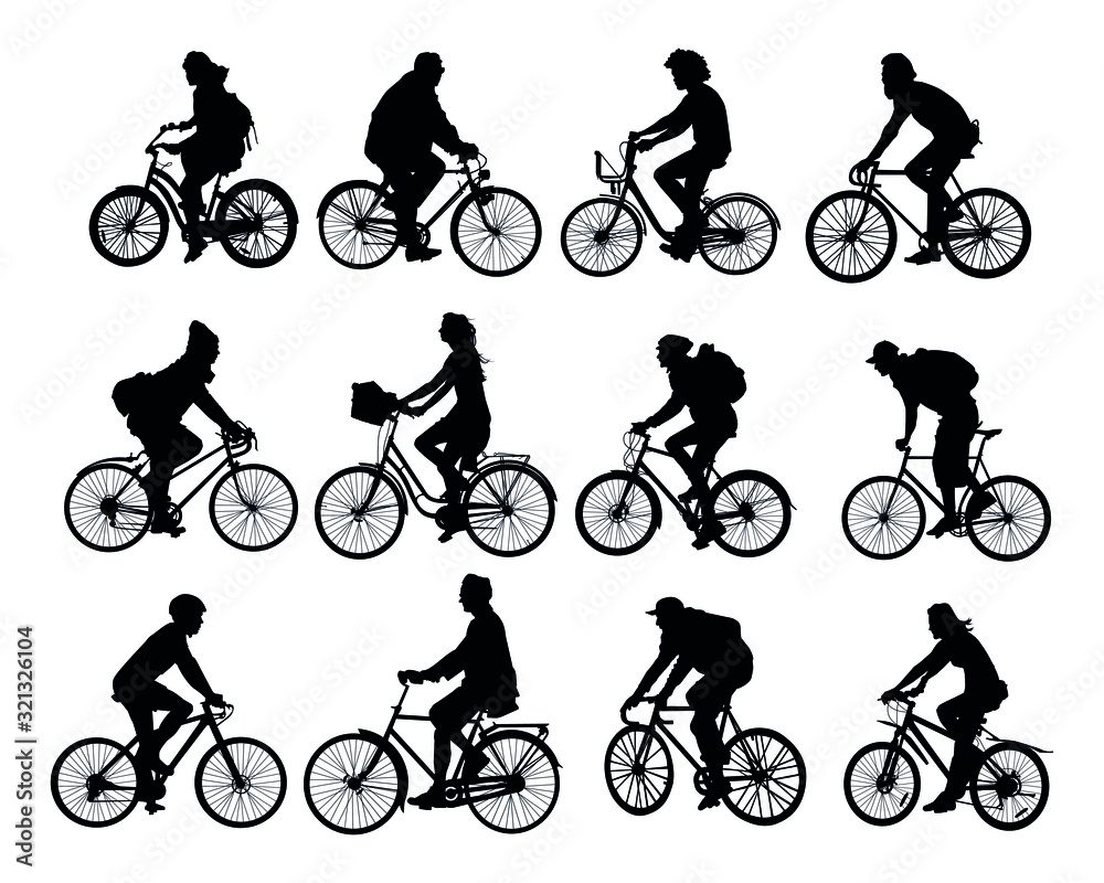 Fototapeta cyclists set of black silhouettes on a white background