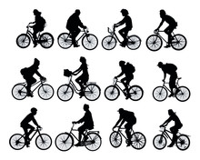 Cyclists Set Of Black Silhouettes On A White Background