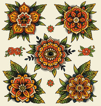 Traditional Decorative Tattoo Flowers. Set Of Isolated Vector Illustrations.