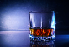 Whiskey Glass With Alcohol On ...
