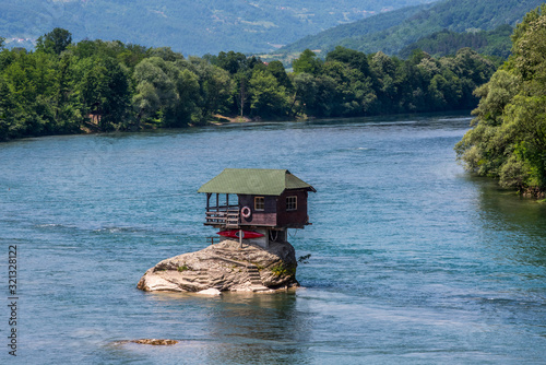 House on Drina in Bajina Basta near Tara National Park in Sebia Canvas Print