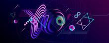 Blue 3d Futuristic Neon Space ...