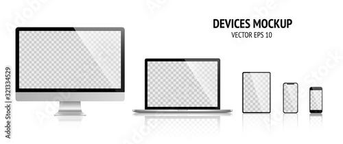 Makieta realistyczne urządzenia zestaw monitora, laptopa, tabletu, smartphone ciemny szary kolor - Wektor stockowy.