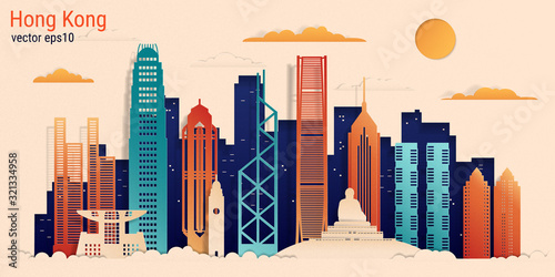 Hong Kong city colorful paper cut style, vector stock illustration Poster Mural XXL