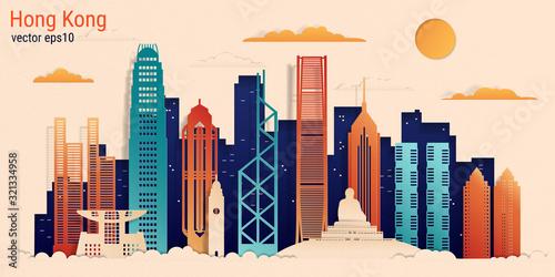 Fotografie, Obraz Hong Kong city colorful paper cut style, vector stock illustration