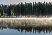 View On The Lake Yellowstone In The Morning Fog