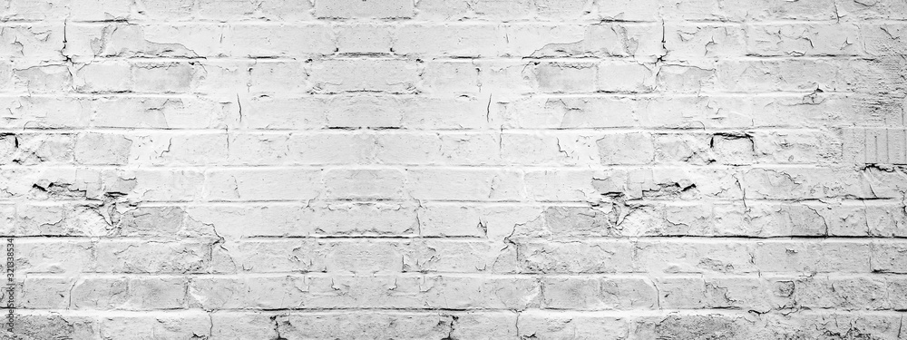 Fototapeta White gray light damaged rustic brick wall texture banner panorama