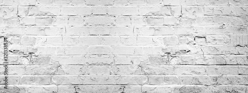 Fototapeta White gray light damaged rustic brick wall texture banner panorama