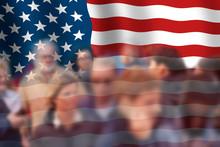 Big USA Flag With Groups Of Bl...