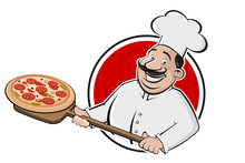 Cartoon Pizza Logo Of A Serving Chef