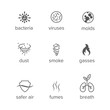 Set of vector icons. Concept of air purification, microbiology, airborne contaminants. Vector Illustration. AI file with layers. Easy to edit.