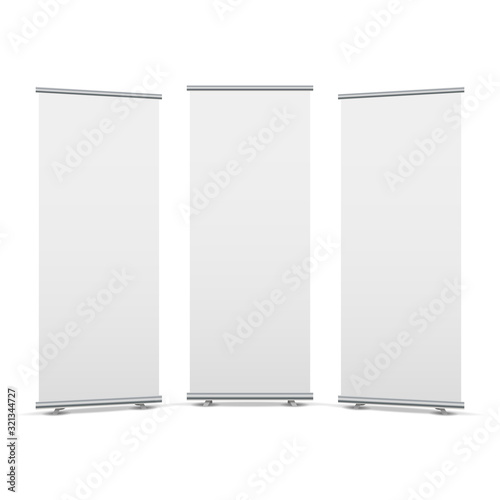 Fototapeta Roll up display stand screen white poster template. Blank stand roll-up banner obraz