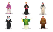 Set Of Catholic Priests, Monks And Nuns Characters Vector Illustration