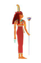 Maat Egyptian Goddess, Deity With Ostrich Feather. Ancient Egyptian God Of Truth, Balance, Order, Harmony, Law, Morality, Justice. 3d Realistic Lion Vector Illustration Isolated White Background