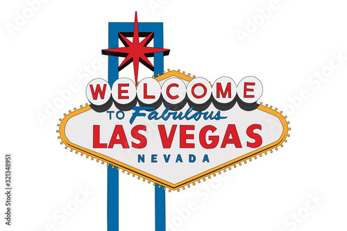 Vector of the Welcome to Fabulous Las Vegas sign with white background Wallpaper Mural