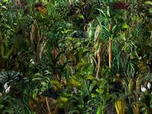 Seamless Jungle Horizontal Pattern Of Exotic Tropical Green Plants, Palm Tree Leaves, Banana Trees, Monstera Leaves, Flowers. 3D Nature Illustration, Wallpaper, Seamless Summer Print, Dark Background