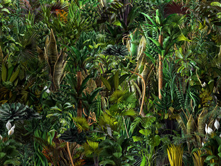 Panel Szklany Podświetlane Egzotyczne Seamless jungle horizontal pattern of exotic tropical green plants, palm tree leaves, banana trees, monstera leaves, flowers. 3D nature illustration, wallpaper, seamless summer print, dark background