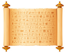 Ancient Egyptian Papyrus With Hieroglyphs. Historical Vector Pattern From Ancient Egypt. 3d Old Scroll With Script, Pharaohs And Gods Symbols. Ornamen Art Design, Text Letter Papyrus Illustration