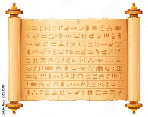 Ancient egyptian papyrus with hieroglyphs. Historical vector pattern from Ancient Egypt. 3d old scroll with script, pharaohs and gods symbols. Ornamen art design, text letter papyrus illustration Fototapete