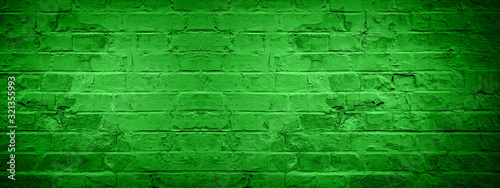 Obraz Green damaged rustic brick wall texture banner panorama, colorful trend color 2020 germany - fototapety do salonu