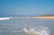 An empty beach on the seashore outside the tourist season