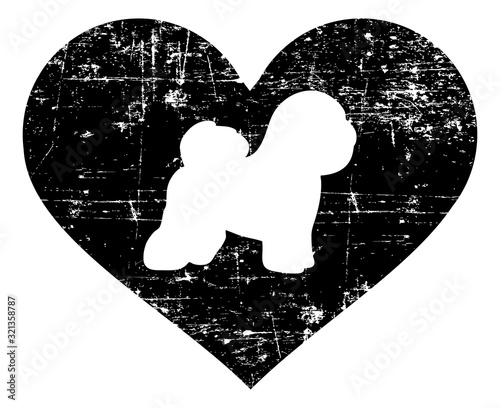Bichon Frise in heart black and white Wallpaper Mural