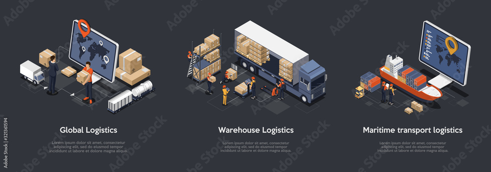 Fototapeta Isometric Set Of Global Logistics, Warehouse Logistics, Maritime Transport Logistics. On Time Delivery Designed To Sort and Carry Large Numbers Of Cargo. Vector Illustration