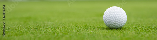Fotografiet golf ball on green, banner
