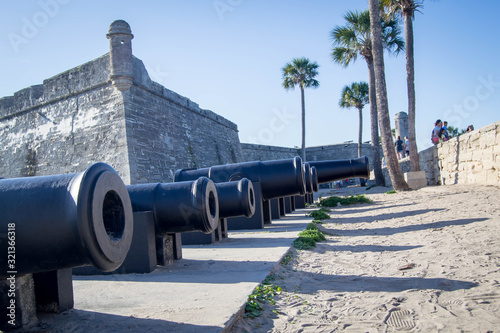 Valokuvatapetti Line of cannons at historical fort