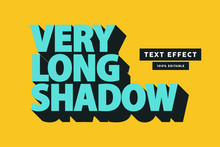 Retro Long Shadow Text Effect, Editable Text