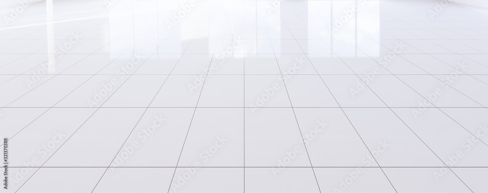 Fototapeta White tile floor background in perspective view. Clean, shiny and symmetry with grid line texture. For decor bathroom, kitchen and laundry room. And empty or copy space for product display. 3d render.