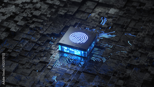 Photo integrated circuit,authentication online, Fingerprint login authorization and cyber security concept