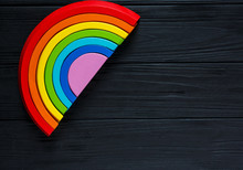 Colorful Wooden Toy Rainbow, A...