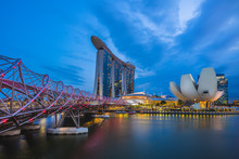Singapore - February 6, 2020: Skyline Of Singapore By The Marina Bay With The Famous Landmark Of Singapore: Sands, Helix, And Artscience Museum