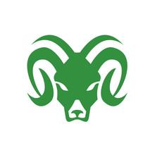Bighorn Sheep Ram Head Front I...