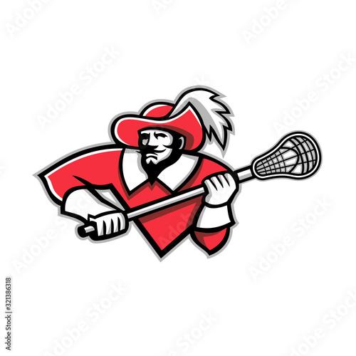 Musketeer Lacrosse Mascot Fototapeta