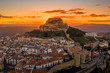 canvas print picture - Sunset over medieval Morella walled town and fortress in Spain known for honey